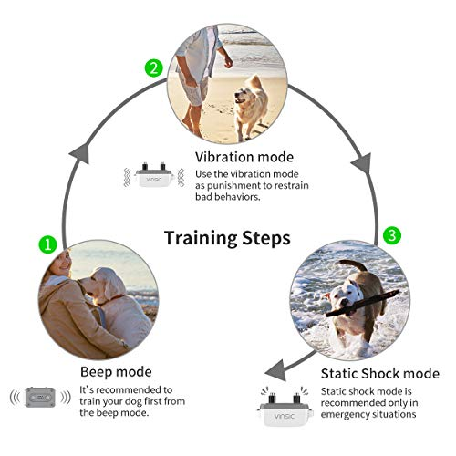 VINSIC Dog Shock Collars with Remote for 2 Dogs, 100% Waterproof Dog Training Collars with 300yd Range Remote Control, for Small Big Dog bark Collar with LCD Display by VINSIC (Image #5)