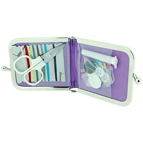 TOC Ladies - Girls Funky Purple & Silver Zebra Print Case Emergency Sewing Kit Set SC858