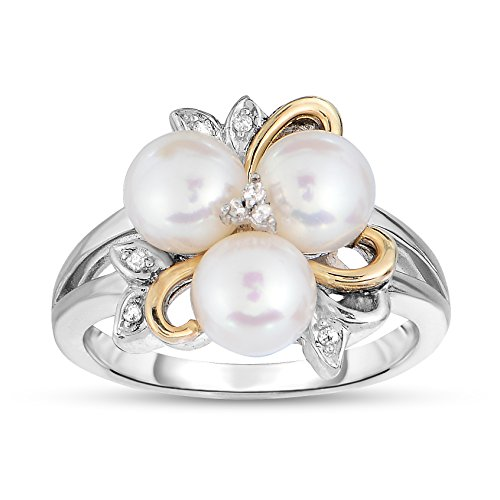 NATALIA DRAKE Cultured Pearl and Diamond Flower Ring in 14K Gold & Sterling Silver