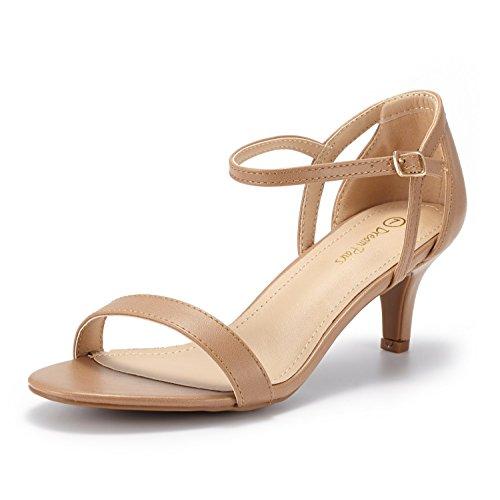 DREAM PAIRS Women's LEXII Nude Pu Fashion Stilettos Open Toe Pump Heel Sandals Size 9.5 B(M) US