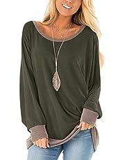 Damen Langarmshirt Casual Sweatshirt Farbblock T-Shirt Rundhals Blusen Top Pullover Oberteile mit Taschen (252-Rosa, Small)