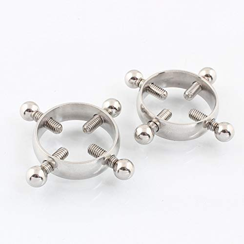 Adjustable Stainless Steel Faux Jewelry Screw Clip on Body Piercing Rings Nippl/é Clamps with Metal Chain