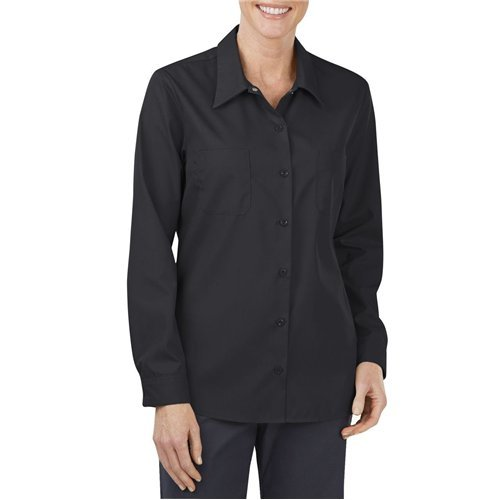 Dickies Occupational Workwear FL5350BKM FL5350 Women's Long Sleeve Industrial Work Shirt, Fabric, Medium, Black (Dickies Womens Long Sleeve Shirts)