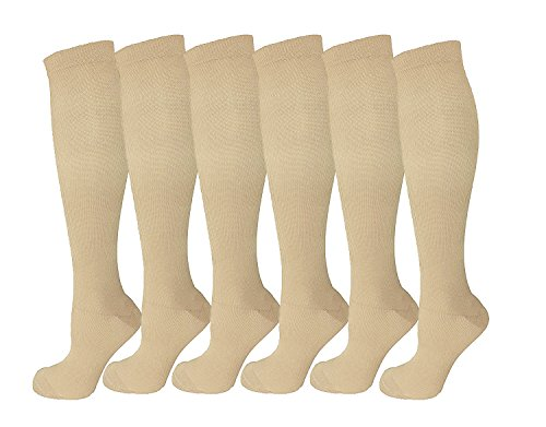 6 Pairs Knee High Graduated Compression Socks For Women and Men - Best Medical, Nursing, Travel & Flight Socks - Running & Fitness - 15-20mmHg (S/M, Nude)