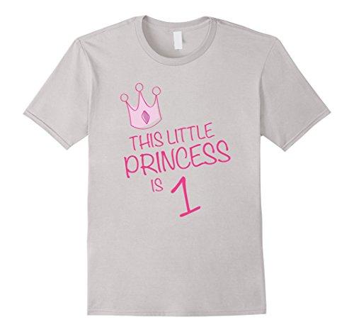 Mens GIRLS BIRTHDAY T-SHIRT - THIS LITTLE PRINCESS IS 1 XL Silver