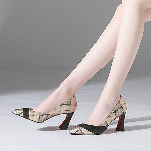 Zapatos mujer de elegante salvaje zapatos Moda Transpirable de bruto tacon Sandalias nueve Zapatos tacón 8 37 alto de oro puntiagudas Treinta en de AJUNR de y cm IO6wq