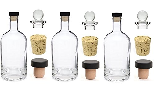 Bottle Label Oz 12 (Nakpunar 3 pcs 12 oz Heavy Base Glass Liquor Bottles with T-Top Synthetic Cork with Bonus Glass Bottle Stopper and Regular Bottle Cork (3, 12 oz (375 ml)))