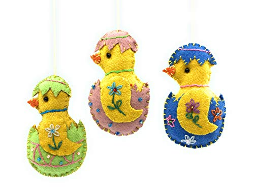 Ruth + Wilde Easter Chicks in Eggs Hanging Ornaments, Set of 3, Handmade