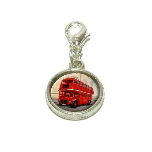 British Red Double Decker Bus Dangling Bracelet Pendant Charm
