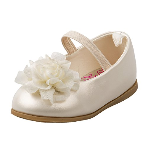 Josmo Girl's Patent Dressy Shoe with Chiffon Flower, Beige Patent, 5 M US (Toddler Flower Girl Shoes)