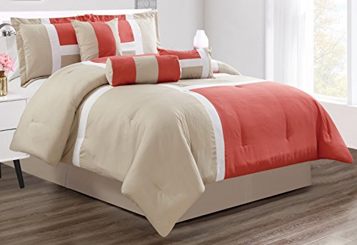 GrandLinen 7 Piece Oversize Queen Bedding Coral/Grey/White Color Block Emma Comforter Set 94