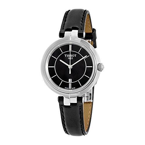 Tissot Flamingo Black Dial Black Leather Ladies Quartz Watch T0942101605100