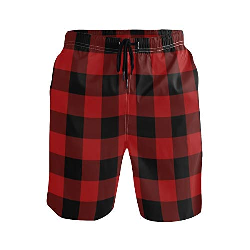 (Swim Trunk with Buffalo Plaid Print, Beach Shorts for Men Boys M)