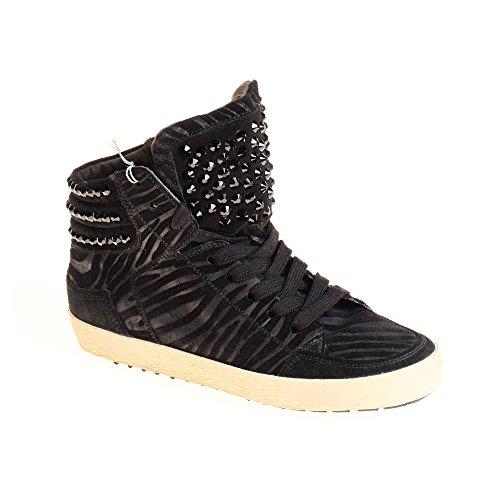 Kennel & Schmenger Damen Sneaker High Top Leder Schwarz Used Look