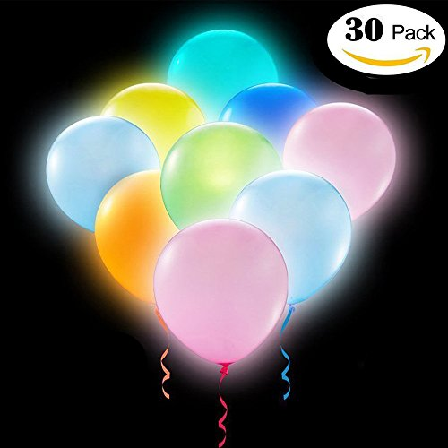 Party LED Balloons Lights 30 Pieces Light Up Balloons LED Assorted Colors Luminous Balloons Non-Flashing Light 12 Inches(Pack of 30) for $<!--$9.98-->