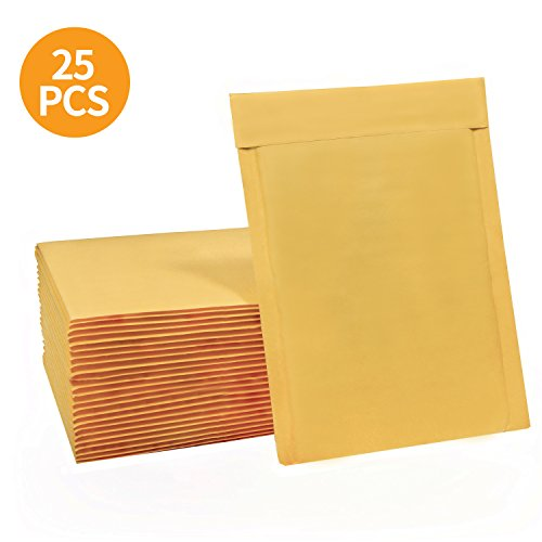 Top HBlife 6x10 Inches Kraft Bubble Mailers Self Seal Padded Envelopes, Pack of 25