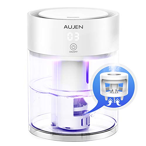 Aujen Humidifier with Night Light, 3L Cool Mist Humidifier for Bedroom, Ultrasonic Humidifier for Large Room, Quiet Humidifier for Babies, Air Humidifier with Adjustable Mist Level - Great Choice for Valentine's Day Gift