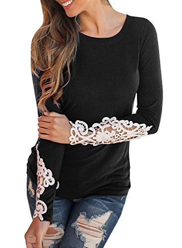 Dellytop Womens Lace Long Sleeve Shirts Round Neck Plain Slim Basic Tees Tunic Shirts
