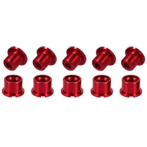 - CYSKY Single Chainring Bolts 5 Pack M8 Single Short Chain Ring Bolts Fit for Road Bike, Mountain Bike, BMX, MTB, Fixie (Aluminum Alloy, CNC, Red)