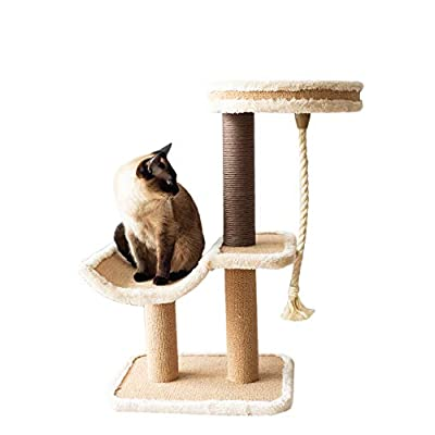 Cat scratching Catry, cat Tree Cradle Bed with Natural Sisal Scratching Posts and Teasing Rope for Kitten [tag]