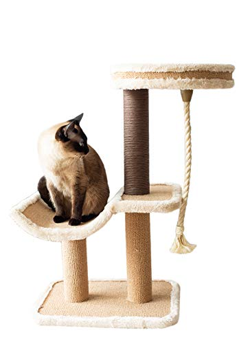 Catry Cat Tree Cradle Bed with Natural Sisal Scratching Posts and Teasing Rope for Kitten (Beige)