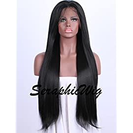 SeraphicWig Best Synthetic Lace Front Wigs Women Long Straight Black Wig Glueless Heat Resistant Fiber Hair Half Hand…