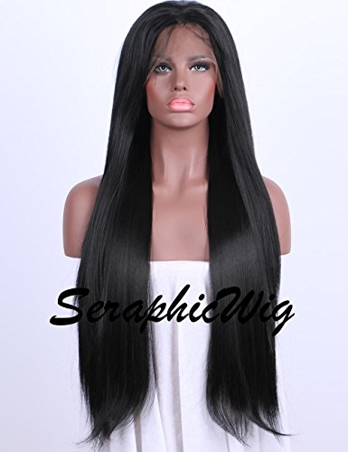 Best Synthetic Lace Front Wigs Women Long Straight Black Wig Glueless Heat Resistant Fiber Hair Half Hand Tied 24 - Inch 24 Straight Wig