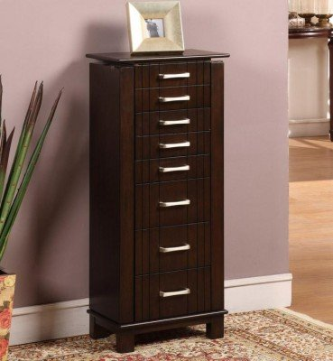 Nathan Direct St. Ives 8 Drawer Jewelry Armoire with 2 Side Compartments and a Lift-Top Compartment with Mirror and Ring Holders, Mahogany