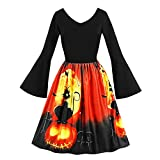 Bookear Womens Halloween Long Sleeve Round Neck Casual Printed Flared Sleeve Party Dress (XL, Black)