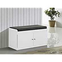 Baxton Studio Margaret Modern and Contemporary Wood 2-Door Shoe Cabinet with Faux Leather Seating Bench, White