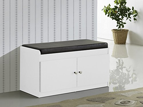 Baxton Studio Margaret Modern & Contemporary Wood 2-Door Shoe Cabinet with Faux Leather Seating Bench, White