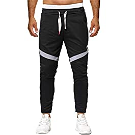 Jogger Pants, Men's Fashion Patchwork Zipper Pocket Teen Boys Casual Track Pants Active Running Sport Pants Sweatpants
