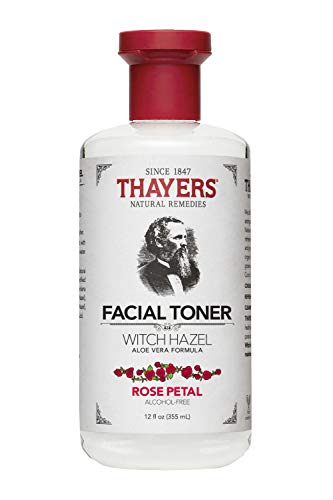 Thayers Alcohol-Free Rose Petal Witch Hazel Toner with Aloe Vera Formula-12 Oz (Facial - 12 Oil Scented Essential Bottle