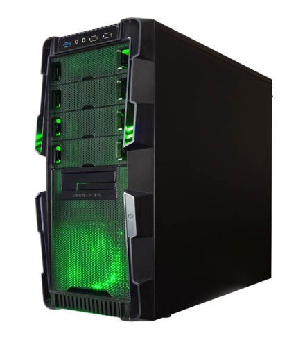 Apevia X-HERMES-GN ATX Mid Tower PC Gaming Case with 5 Fans, Large Green Tinted Side Window, Front USB2.0/USB3.0/Audio Ports, Hard Drive Hot-Swap Bay - Black/Green