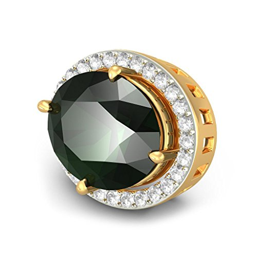 14 K Or jaune 0,34 CT TW White-diamond (IJ | SI) et tourmaline verte Boucles d'oreille à tige