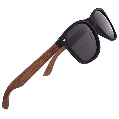 SKADINO Wood Sunglasses for Women&Men with Polarized Lens Handmade Wooden Arms-Walnut Grey - Wood Hipster