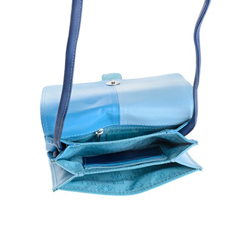 Borsetta donna multicolore in pelle a tracolla con patta di DUDU Blu