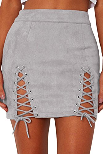 (Almaree Retro Faux Suede Double Criss Cross Bandage Bodycon A-Line Skirt for Women Grey S)
