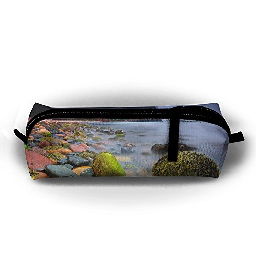 SHOUNABAG Landscape Stones Scotland Beach Clouds Island Cliff River Water Seaweed Sea Nature Big Capacity Pencil Case,Collection Cosmetic Pencil Case. ()