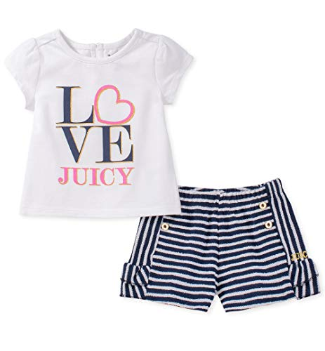 Ideas To Dress Up As (Juicy Couture Girls' Toddler 2 Pieces Shorts Set, White/Navy Stripes,)