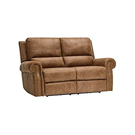 Oak Furniture Land Savannah Electric Recliner Two Seater Sofa In Light  Brown Antique Style Leather Reclining