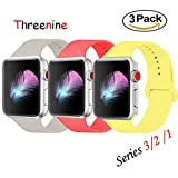 Threenine for Apple Watch Band, Durable Soft Silicone iWatch Strap Replacement Sport Band for Apple Watch Band Series 3 Series 2 Series 1 Sport, Edition (3 pack, 38mm S/M)