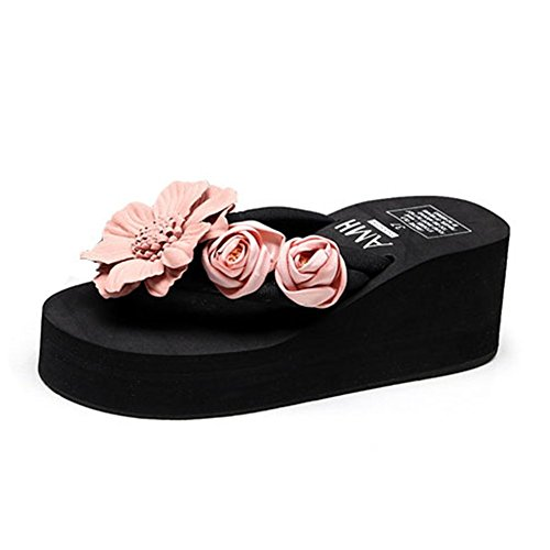 F-OXMY Women Flower Platform Flip Flops Summer Outdoor Anti-Slip Thick Bottom Beach Thong Wedge Sandals Black