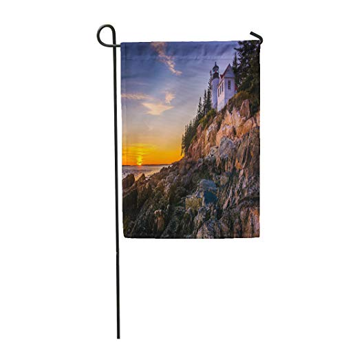 Semtomn Garden Flag 12x18 Inches Print On Two Side Polyester Bass Harbor Lighthouse at Sunset in Acadia National Park Maine Home Yard Farm Fade Resistant Outdoor House Decor -
