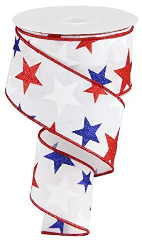 (Patriotic Ribbon - White with Glitter Stars - Wired Edge 2.5