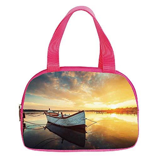 "Polychromatic Optional Small Handbag Pink,American Flag Decor,Us Symbolism Over Old Rusty Tones Weathered Vintage Social Plank Artwork,Multi,for Girls,Print Design.6.3""x9.4""x1.6"""
