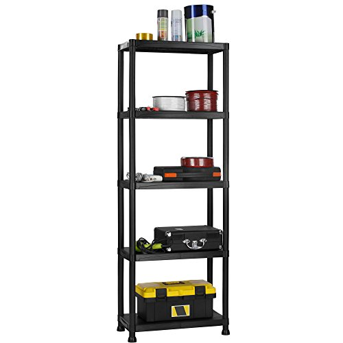 VonHaus 5 Tier Garage Shelving Unit with Wall Brackets - Black Plastic Interlocking Utility Storage Shelves and Rack - Unit Size: 68 x 24 x 12 inches