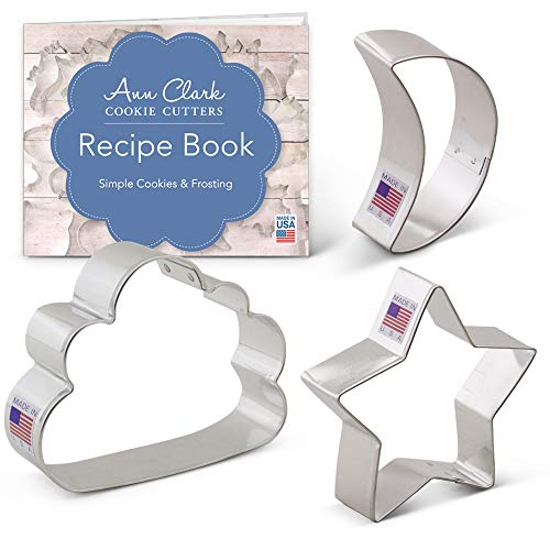 Ann Clark Cookie Cutters 3-Piece Twinkle Little Star and Sweet Dreams Cookie Cutter Set with Recipe Booklet, Star, Moon & Cloud (Star Cutter Cookie Sun Moon)