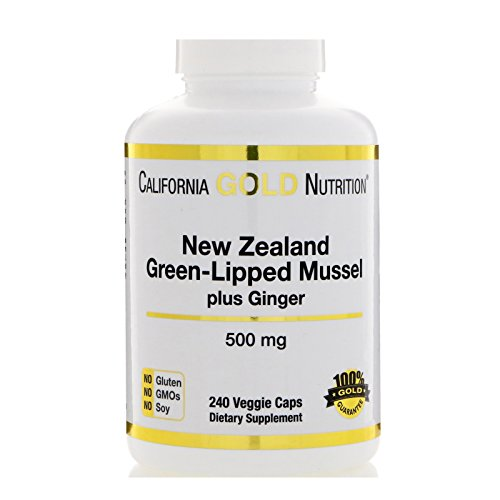 (California Gold Nutrition, New Zealand Green-Lipped Mussel Plus Ginger, Joint Health Formula 500 mg, 240 Veggie Caps, Milk-Free, Gluten-Free, Peanut Free, Preservative-Free, Soy-Free, Sugar-Free, CGN)