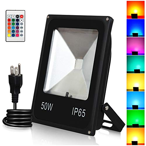 T-SUN 50W RGB Flood Lights, Outdoor Color Changing Waterproof LED Security Light, RGB Spotlight with Remote Control & US Plug for Garden, Yard, Warehouse, Sidewalk, Garage (50W)